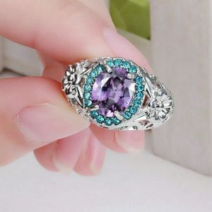 ❤️gorgeous Turkish aquamarine&amethyst gold ring6